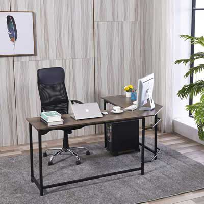 7. WESTEROS Modern L-Shaped Corner Computer Office