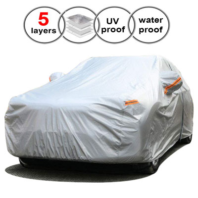 6. SEAZEN Waterproof and All-Weather Car Cover- Breathable Cotton Fabric