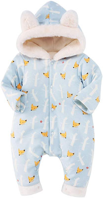 #3. Pureborn Unisex Romper Thicken Coveralls Cartoon Winter Hoodie Snowsuit Outfit