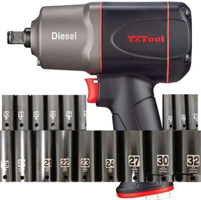 #8. TZTool 1200 All-New Diesel 0.5 Inch 21 PC Deep Impact Sockets & Extension Bar Impact Wrench Set