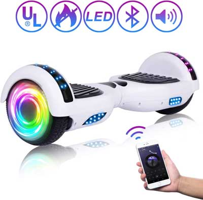 #2. SISIGAD 6.5'' Self-Balancing Hoverboard with LED lights & Speakers UL-Certified for Adults Kids (pure color series)