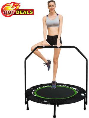 #7. Hurbo 40 Inches Portable Trampoline with an Adjustable Handrail and a Maximum Load Capacity of 300 lbs.