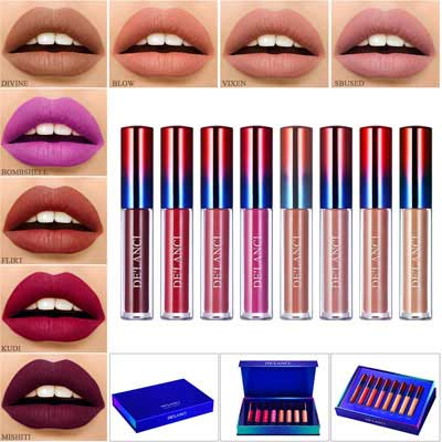 7. Afflano Makeup Liquid Lipstick Natural Nude Matte Lipsticks Set