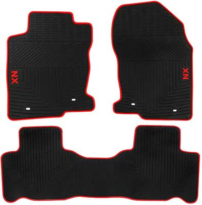 #3. San Auto Black Red Rubber Liners 3 Pcs Compatible with Lexus Models All-weather