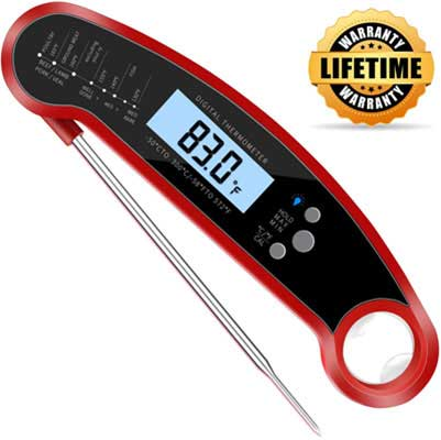 #9. CUGear Waterproof Ultra-Fast Thermometer with Calibration & Backlight (Red)