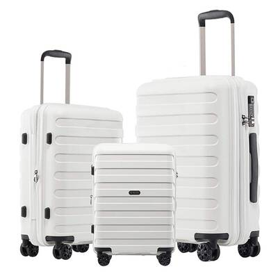 #8. GinzaTravel Anti-Scratch 3-Pcs Thickened Large Capacity 8-Wheel Spinner Suitcase Set (White)