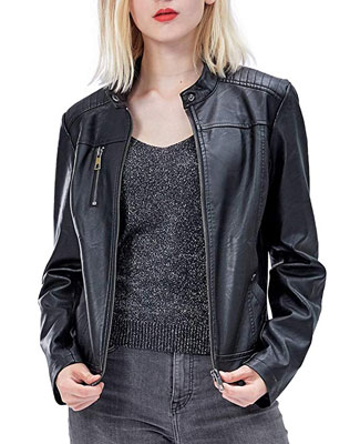 9. Fahsyee Women's Leather Jackets, Fitted Slim Coat