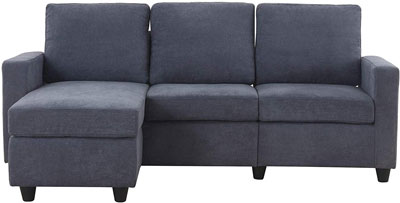 #9. HONBAY Convertible Sofa Couch, L-Shaped with Modern Fabric, Dark Grey