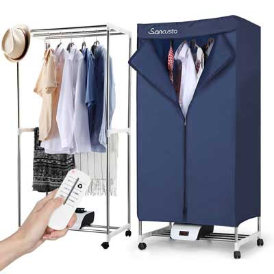 #3. Sancusto Portable 1000W Remote Control Indoor Electric Clothes Dryer (Deep blue)