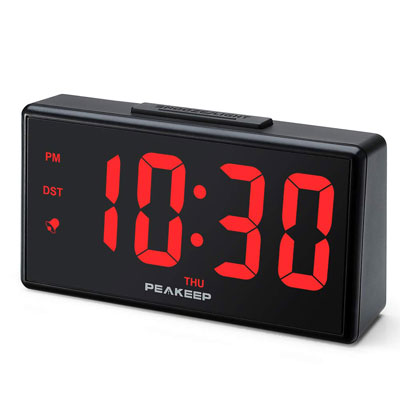 5- Peakeep Digital Alarm Clock with USB