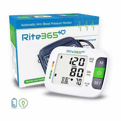 #7. Rite365 Arm Blood Pressure Monitor, Automatic and FDA approved - AAA Batteries Included