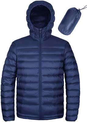 #3. HARD LAND Men's Packable down Jacket Hooded Water-Resistant Insulated Puffer Coat