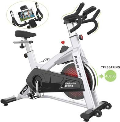 #1. SNODE Indoor Cycling Bike with Tablet Holder and an LCD Monitor
