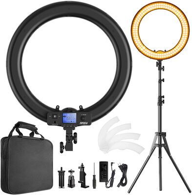 2. Ivisii Upgraded Adjustable Color Ring Light with Stand ideal for Vlog and Selfie