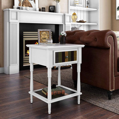 2. VASAGLE nightstand white ULET17WL end table