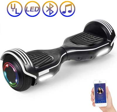 #1. SISIGAD 6.5'' for Adults & Kids with Bluetooth Speaker & LED Lights Electric Hoverboard Scooter (pure color series)