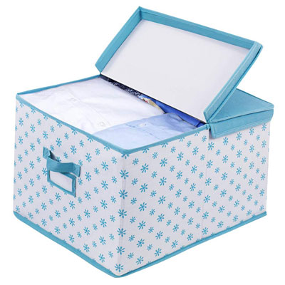 #9. Homyfort Foldable Canvas Fabric Decorative Blue Flower Storage Box
