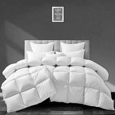 #1. APSMILE Luxurious Full/Queen Size Ultra Soft Egyptian Cotton Goose Down Comforter (Solid White)