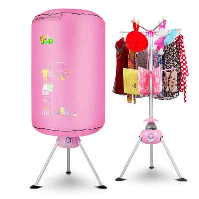 #9. YXGH@ Portable Non-Porous 900W Electric Laundry Drying Automatic Timer Dryer (Pink)