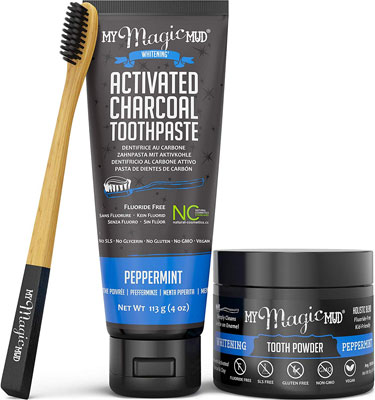 9. My Magic Mud Clinically Proven Activated Charcoal Teeth Whitening Kit, Peppermint