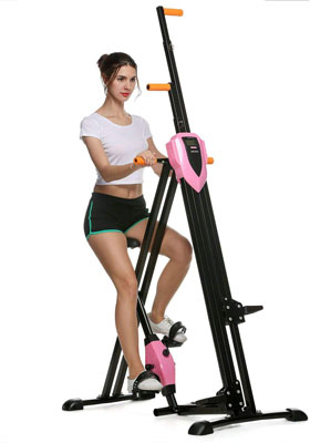 #9. ANCHEER Vertical Exercise Equipment for Home Gym, Pink