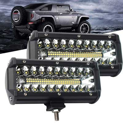 #10. BLIAUTO 7'' 240W Spot Flood Combo 25000LM LED Pods off Road Lights (Triple row, 2pcs)
