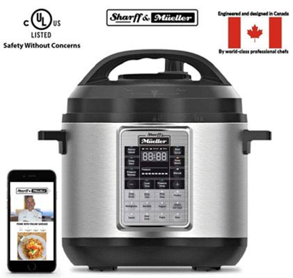 7. Sharff and Mueller 6 Quart 12 in 1 Programmable Electric Pressure Cooker