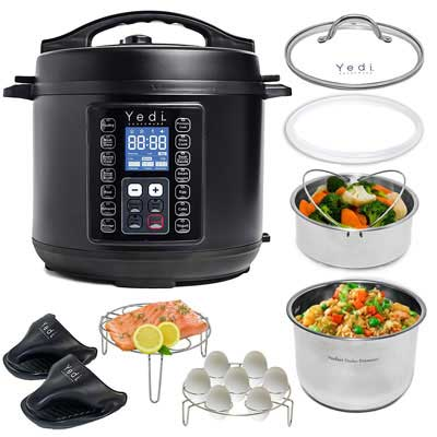 8. Yedi 9-in-1 Total Package 6 Quart Instant Pressure Cooker, Black.
