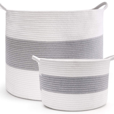 #2. HAN-MM Extra Large 2pcs Woven Cotton Rope Storage Baskets