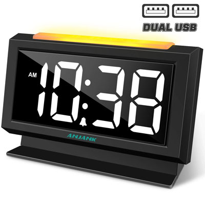 3- Anjank Digital Alarm Clock with USB