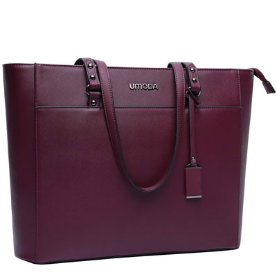 5. UMODA Laptop Tote Bag for Women, Dark Purple