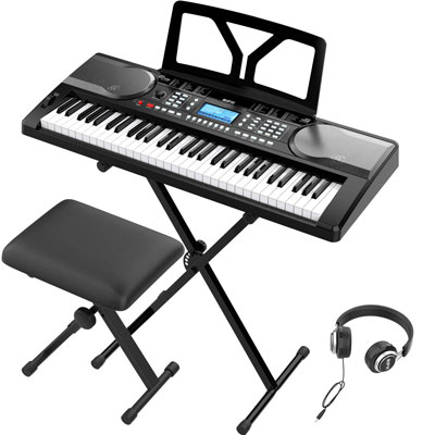 9. RIF6 61 Keys Piano Keyboard - Digital LCD Display and Adjustable Stool for Kids & Adults