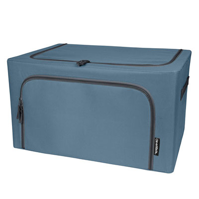 #8. Clever Made Collapsible Stack & Store Fabric Denim Organizer Bin