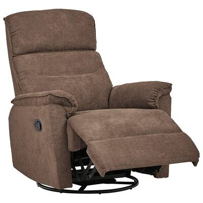 #2. Ravenna Home Fabric Pull Recliner with 360 Degree Swivel Rotating Glider Chair (Smokey Grey)