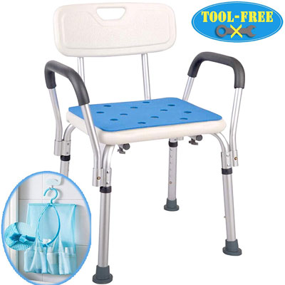 4. Medokare Shower Chair for seniors and Handicap with Rail