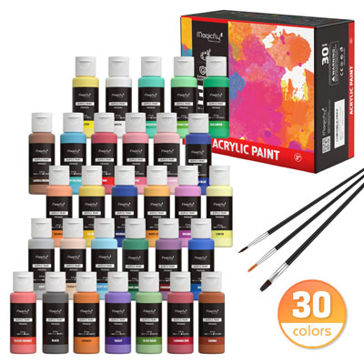 4. Magicfly Acrylic Paint Set - 30 Colors with 3 brushes