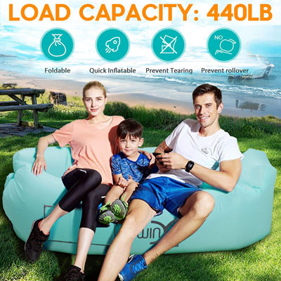 7. YXwin Inflatable Lounger Sofa, Anti-Leak, Waterproof and Portable