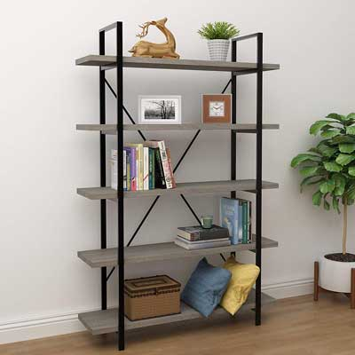 #1. 45MinST 5-Tier Vintage Industrial Style Metal & Wood Bookcase Shelf Furniture (Gray/Brown)