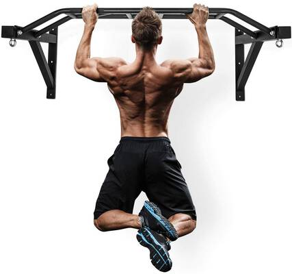#1. Merax 48'' Multi-Grip Chin-Up Station Wall Mounted Pull Up Bar for Home Training Equipment