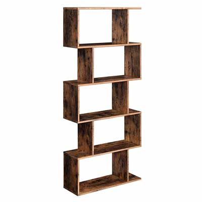 #8. VAGAGLE Freestanding Decorative 5-Tier Display Shelf Wooden Bookcase (Rustic Brown)