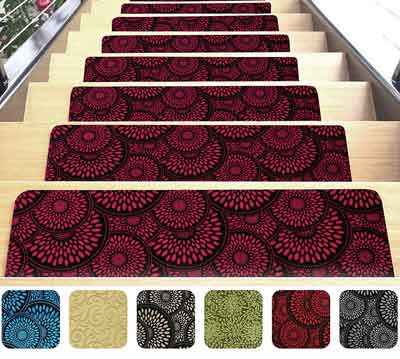 #9. Shape28 Ultra-Thin 9x26in 7pcs Red Stair Mats