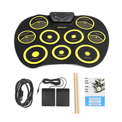 7. QStyle Portable Electric Drum Set with Drum Sticks Pad for Kids, Teens, and Adults