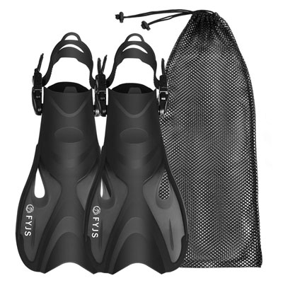4. F FYJS Snorkel Fins, Adjustable Size with Mesh Bag