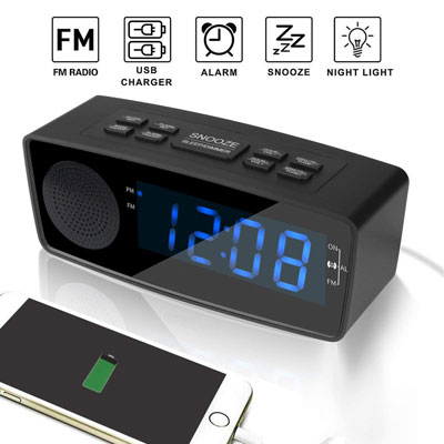 2- Woodmusic Digital Alarm Clock with USB