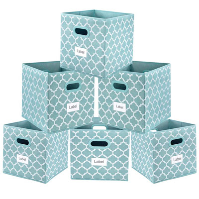 #1. Homyfort Set of 6 Dual Plastic Handle Lantern Pattern Blue Storage Bins