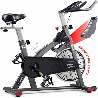 8. Mevem Adjustable Comfortable Indoor Cycling Stationary Bike for Home with LCD Screen