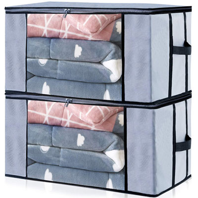 #7. Seckon Zippered Jumbo Size Clear Window Storage Bags Organizer