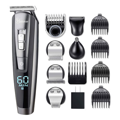 6. HATTEKER Beard Trimmer Kit - Waterproof and USB Rechargeable
