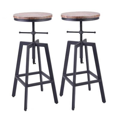 #8. Diwhy Industrial Bar Stools, Adjustable Height (Style 7)