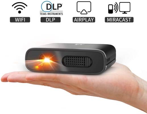 #8. ARTlii Mana Portable DLP Projector with 5200mAh Built-in Battery